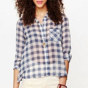 ☀️Free People S Gringham buttondown Blue checkered